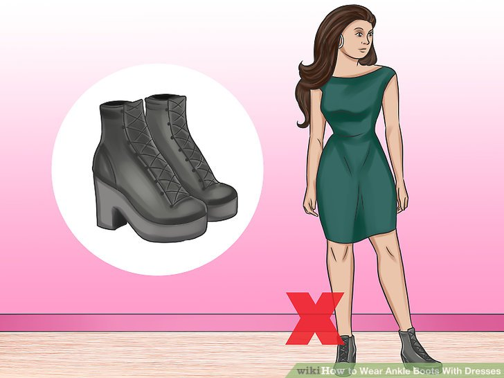Vermeiden Sie das Tragen von glatten Scheidenkleidern mit zu großen Stiefeln.