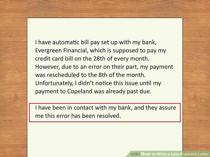 missed payment letter