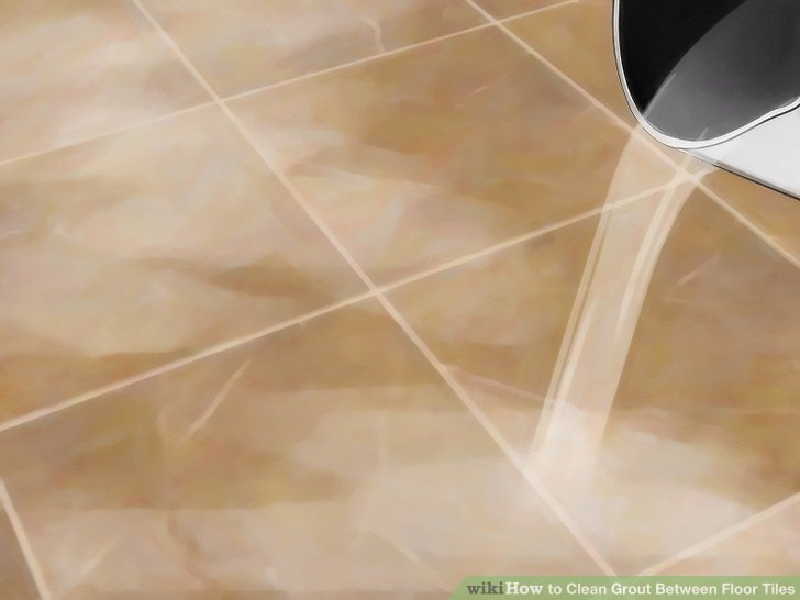 Rinse the grout with warm or hot water to remove all of the solution.