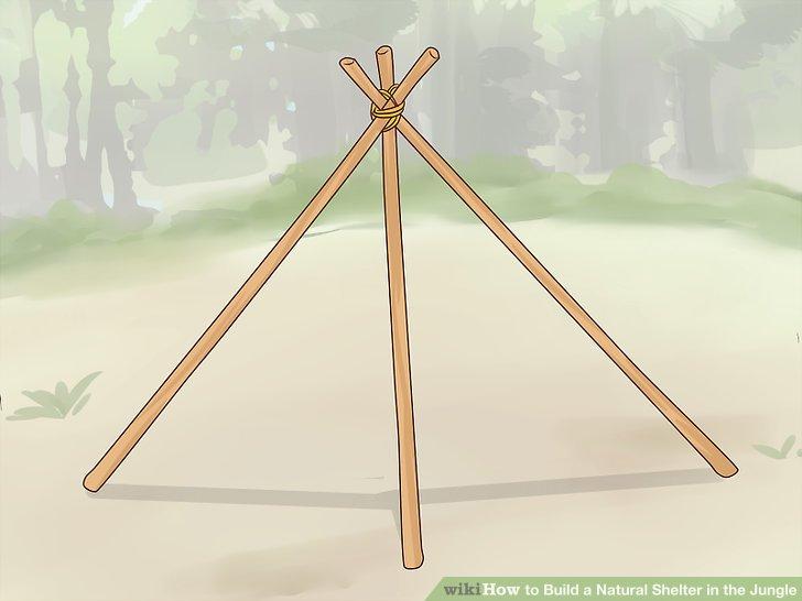 Stützen Sie 3 lange Äste gegeneinander, um einen Stativrahmen zu bilden.