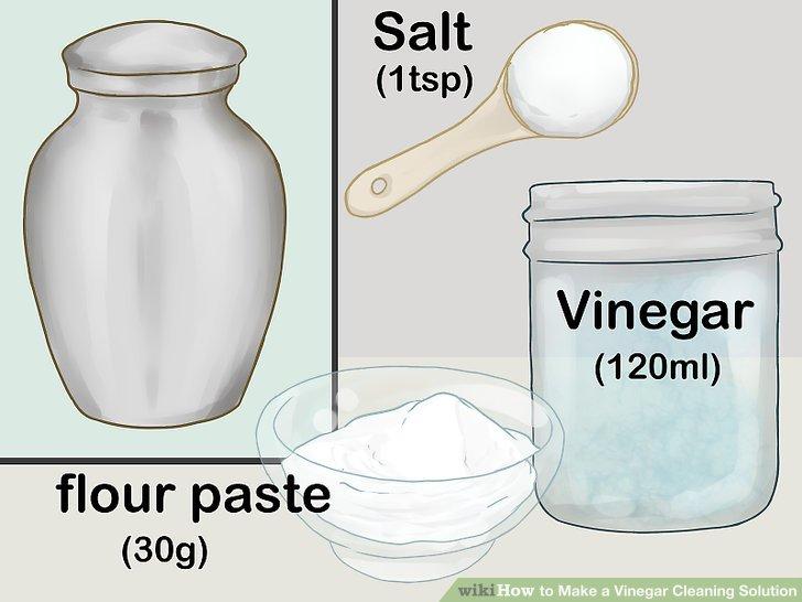 Metalloberflächen mit Essig, Salz und Mehlpaste reinigen.