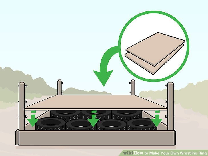 Cover the square frame of your ring with sheets of plywood to make a floor.