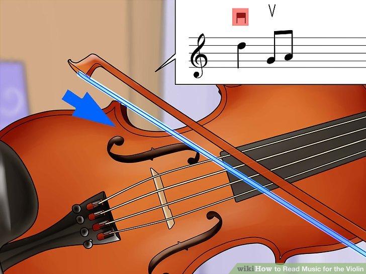 Spielen Sie den Bogen mit einer Abwärtsbewegung für eine tischähnliche Notation.
