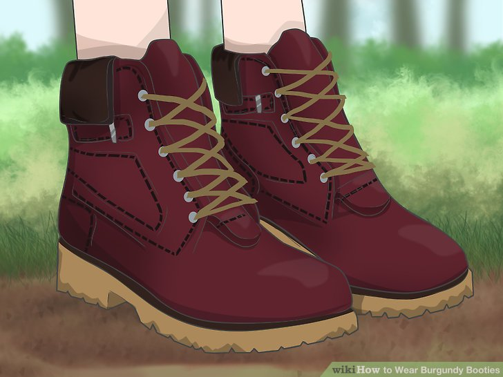 Wear burgundy hiking boots for a rugged look.