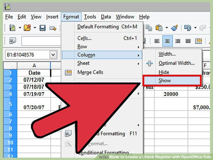 How to Create a Check Register with OpenOffice.org Calc - wikiHow