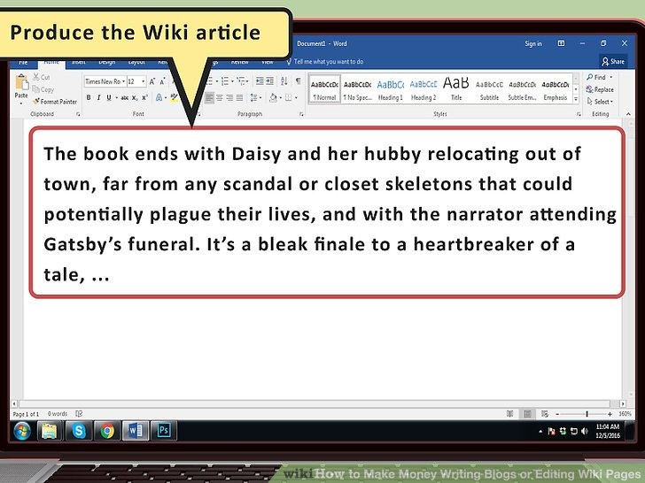 Produzieren Sie den Wiki-Artikel.