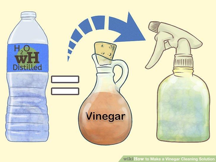 Mischen Sie zu gleichen Teilen Wasser und Essig in einer Sprühflasche.