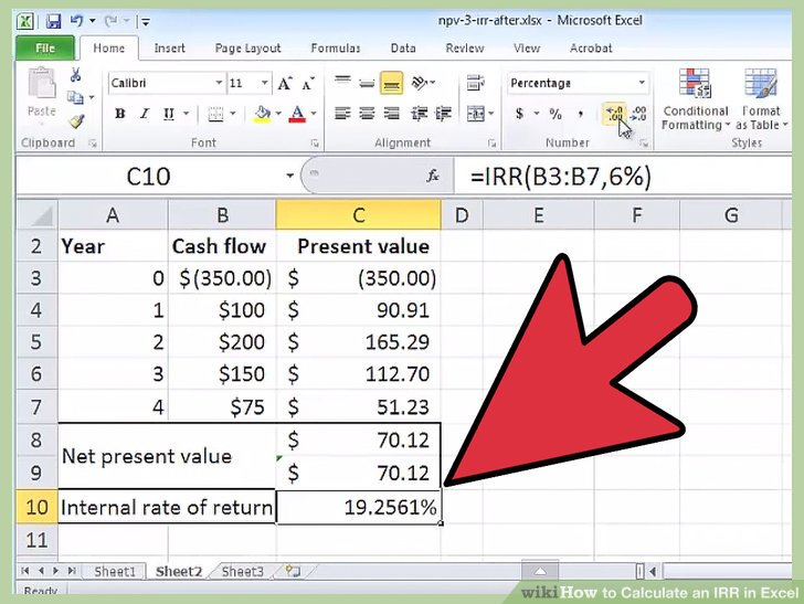 How to Calculate an IRR in Excel: 10 Steps (with Pictures)