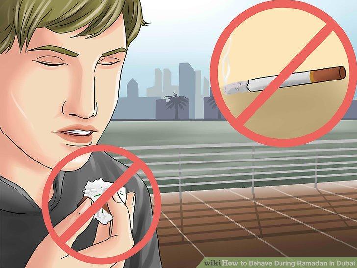 An öffentlichen Orten nicht essen oder rauchen.