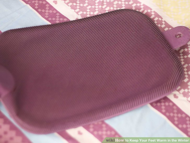 Rest your feet on a hot water bottle or a heat pack.