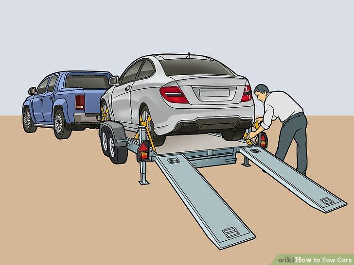 Sichern Sie die Reifengurte und Sicherheitsketten.
