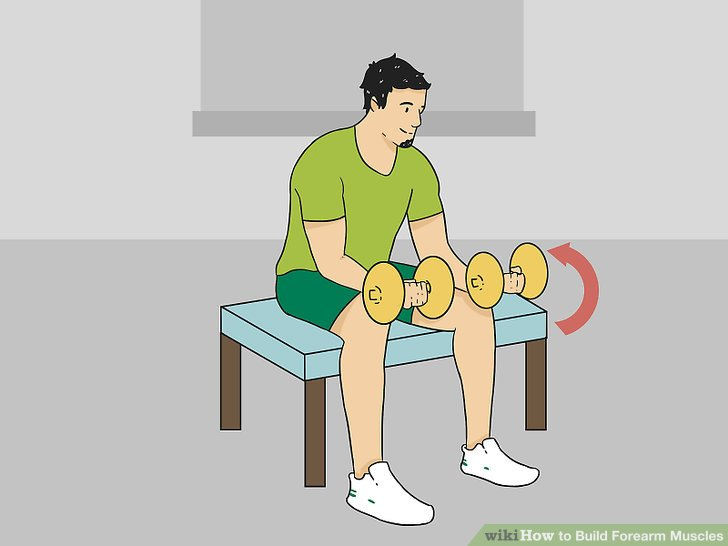 Curl the weight by moving only your wrist up and toward you.