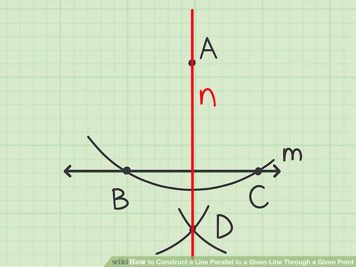 Draw a line that connects the given point and the intersection of the two small arcs.