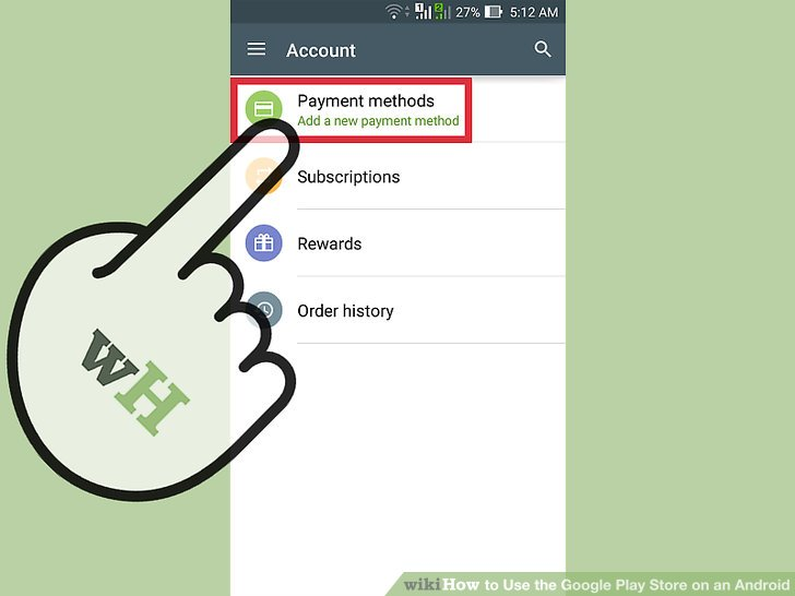 """Scroll down to """"Account"""" and select """"Add payment method."""