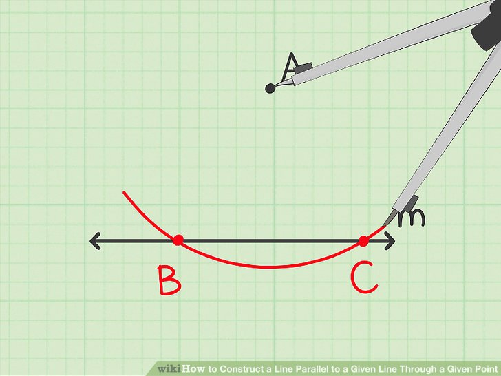 Draw an arc that intersects the given line at two different points.