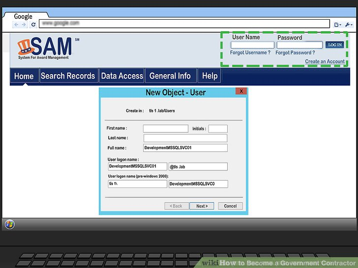 Create an account with the System of Award Management (SAM).