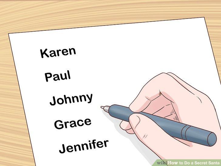 Schreiben Sie die Namen aller Teilnehmer auf ein Blatt Papier.