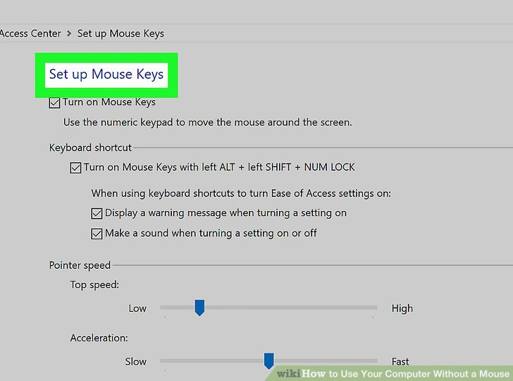 Aktivieren Sie die Maustasten.