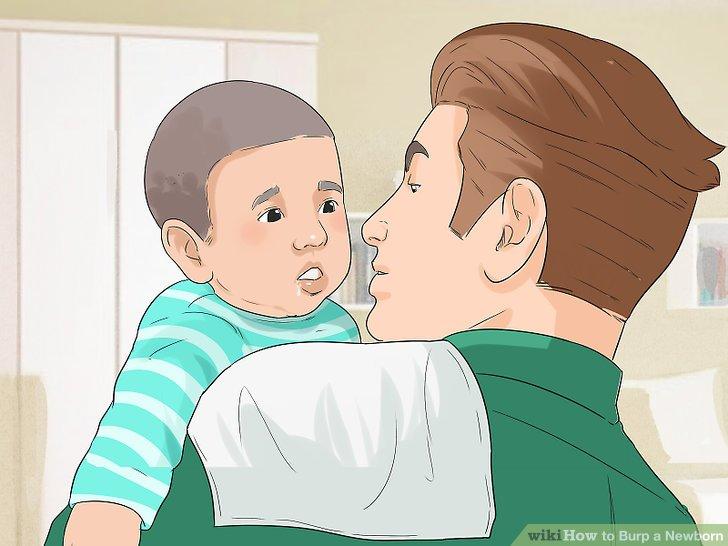 Lassen Sie Ihre Schulter leicht in den Bauch des Babys drücken.