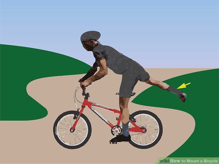 Wenn sich Ihr Fahrrad zu bewegen beginnt, schwingen Sie Ihr rechtes Bein um.