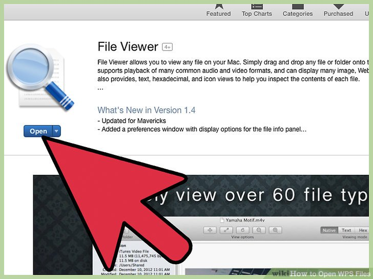 Launch the WPS viewer app when installation is complete, then select the option to open the WPS file.