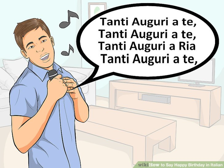 """Sing """"tanti auguri"""" for several lines."""