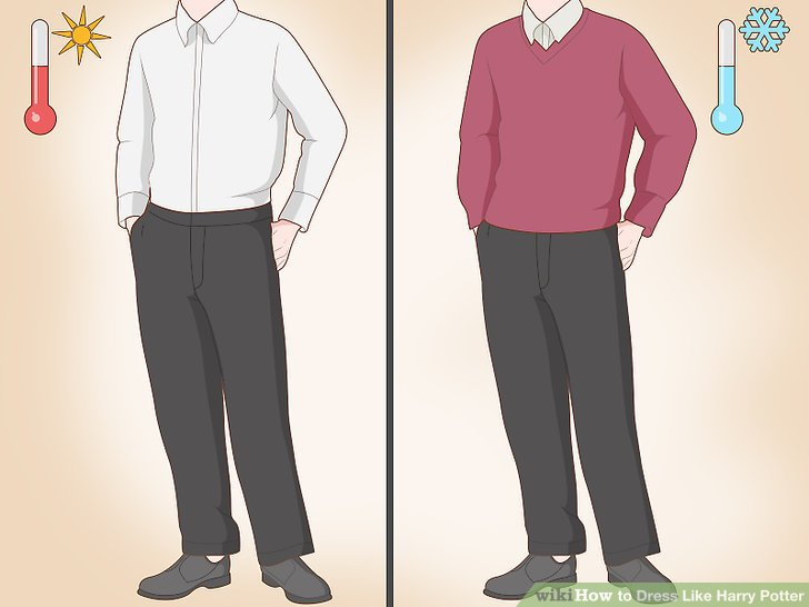 Ziehen Sie eine schwarze Hose und ein weißes Hemd an.