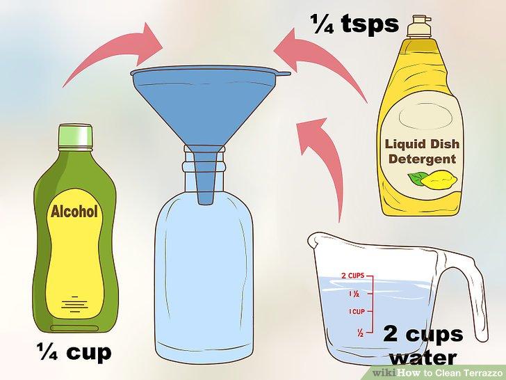 Mischen Sie eine Lösung mit Spülmittel, Alkohol und Wasser.