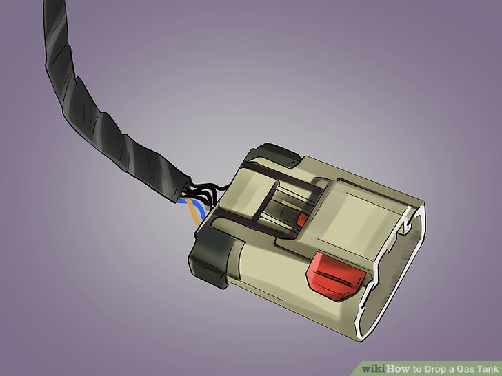 Den Kabelsatzstecker des Kraftstofftanks vom Kabelsatzstecker der Karosserie abklemmen.