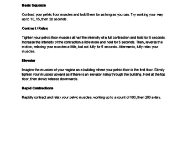 Basic Kegel Exercise Descriptions