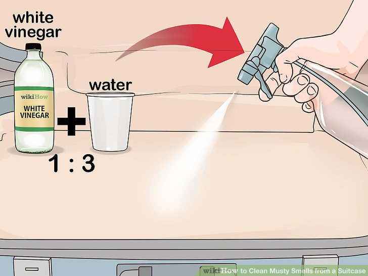 Mit Essig und Wasser einsprühen.