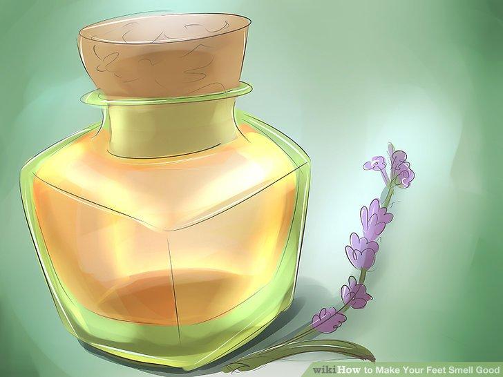 Tragen Sie Lavendelöl auf Ihre Füße auf.