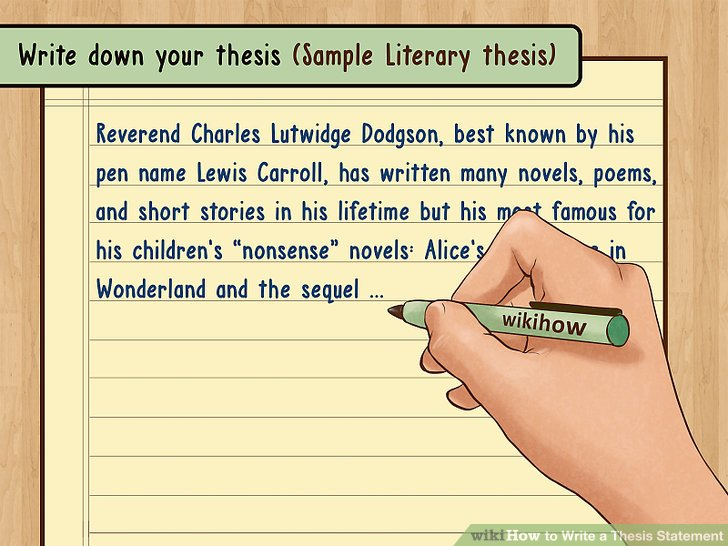 Write down your thesis.