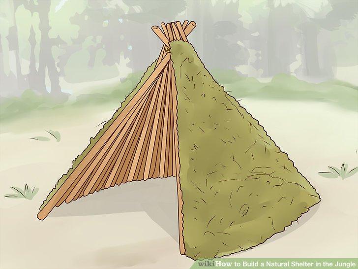 Decken Sie die Außenseite mit grünen Zweigen zur Isolierung ab.