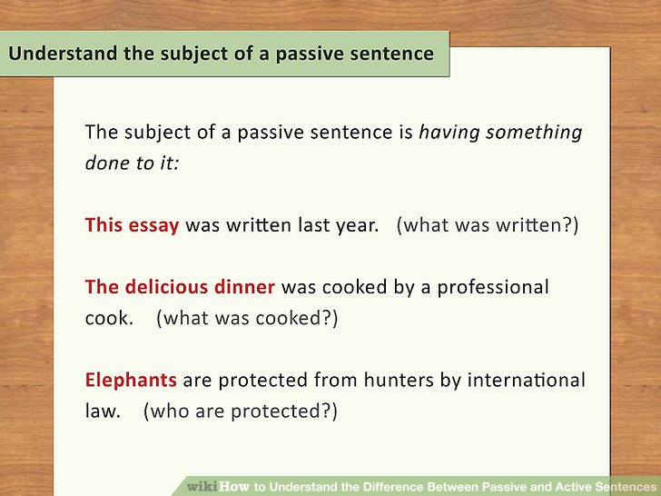 Understand the subject of a passive sentence.