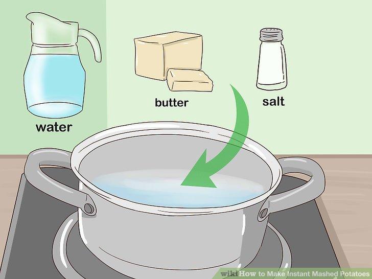 Messen Sie das Wasser, Salz und Butter in einen Topf.