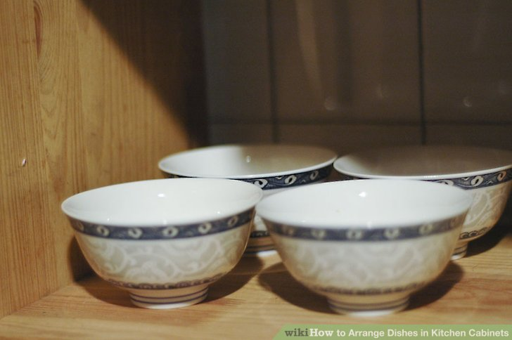 kitchen china dishes garbage pails 4 ways to arrange in cabinets wikihow image titled step 14