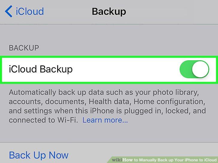 """Schieben Sie """"iCloud Backup"""" in die Position """"Ein""""."""