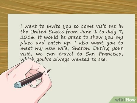 write an invitation letter for a visa