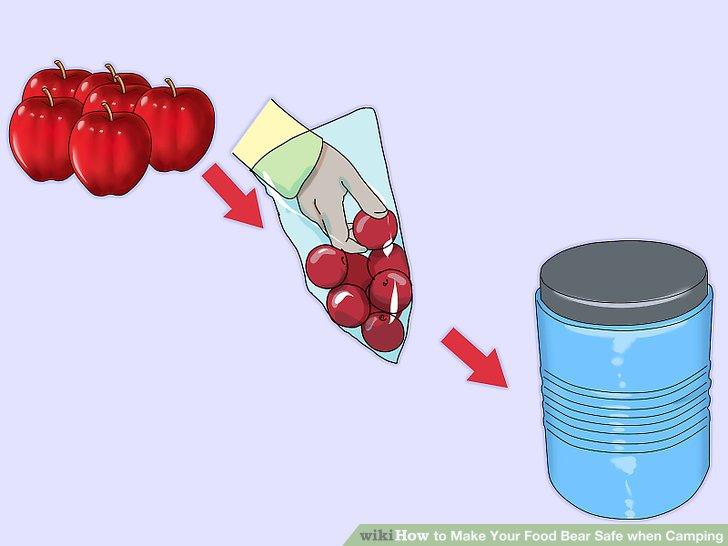 Verwenden Sie eine bärensichere Kanister oder Tasche, um Ihre Lebensmittel zu transportieren.