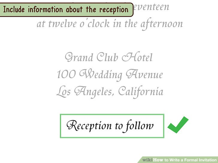 How to how to write a formal invitation in order you should list the date time and venue of the wedding each on their own line stopboris Image collections