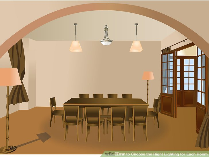 Use a chandelier or pendant for general lighting.