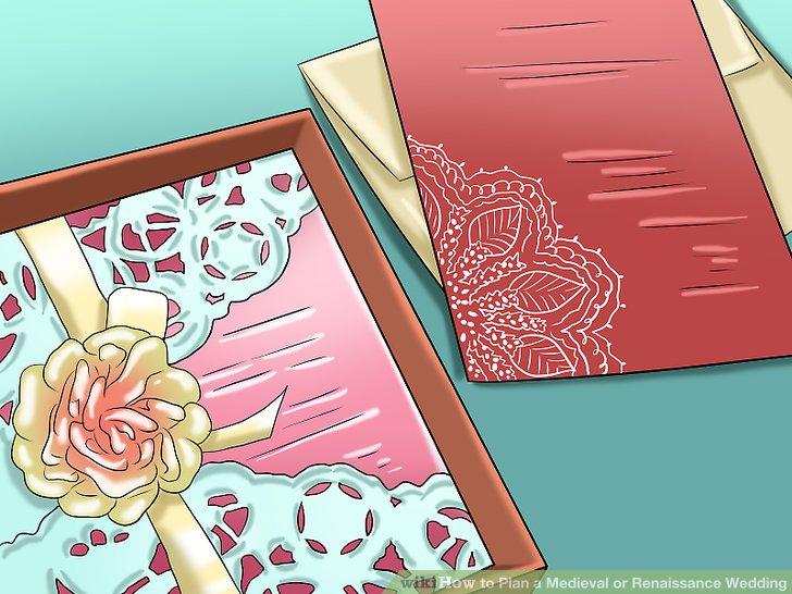 Senden Sie Hochzeitseinladungen aus, die Ihre Gäste über Ihr Thema informieren.