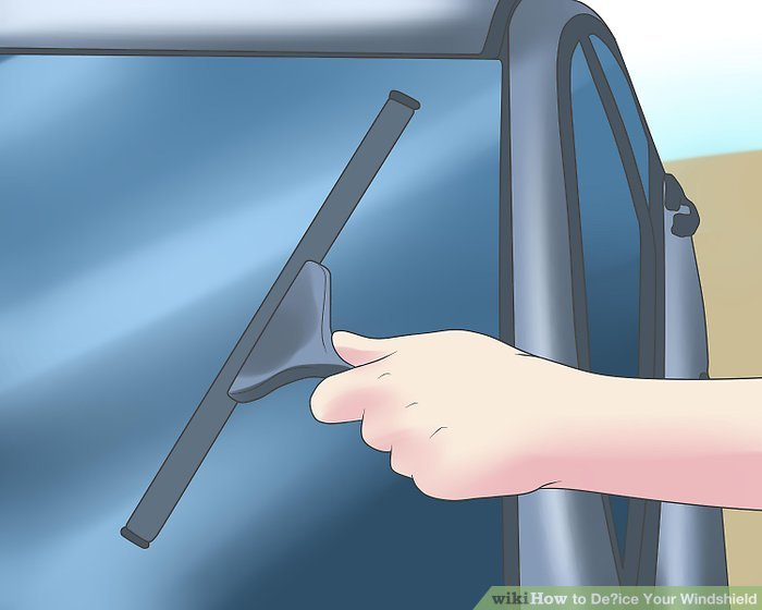 Verwenden Sie eine Rakel, eine Bürste mit weichen Borsten oder Ihre Scheibenwischer, um die Rückstände zu entfernen.