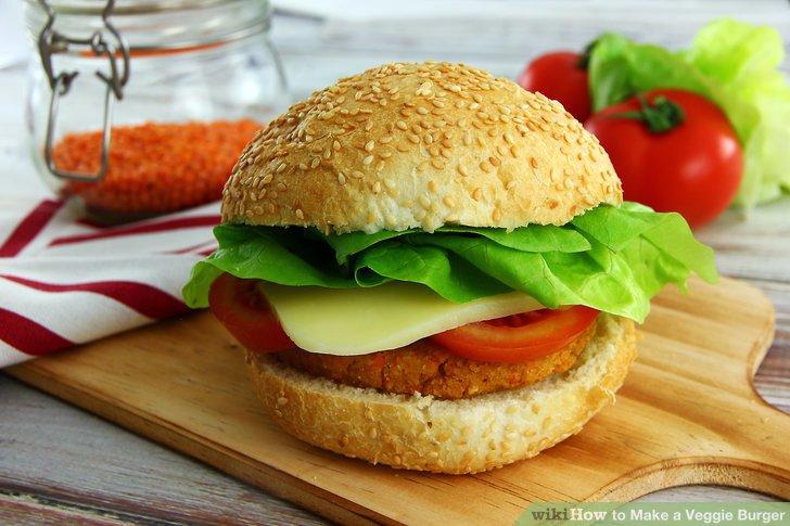 Serve the veggie burgers.