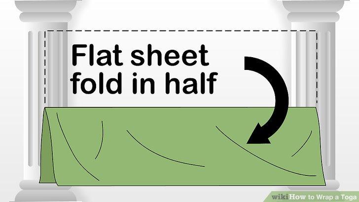 Falten Sie die lange Seite eines Bettlaken in zwei Hälften.
