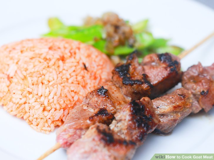 Serve the meat with rice and peas.