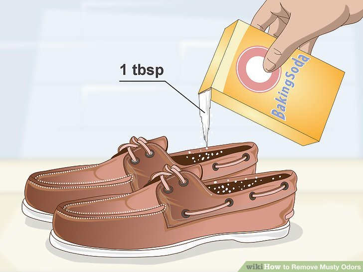 Schuhe mit Backpulver desodorieren.