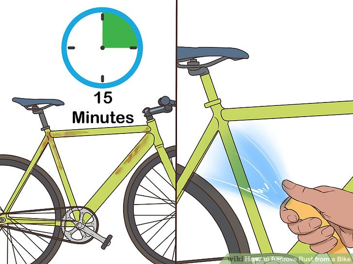 Rinse the vinegar off of your bike after 10-15 minutes.