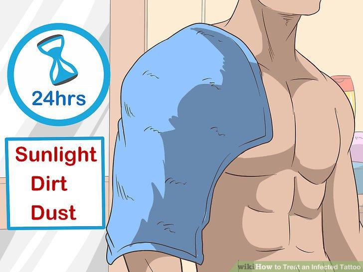 Lassen Sie die Haut nach dem Tätowieren 24 Stunden lang bedeckt.